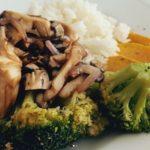 shitake, arroz jasmine e legumes