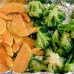 abobóra e brócolis assados no forno